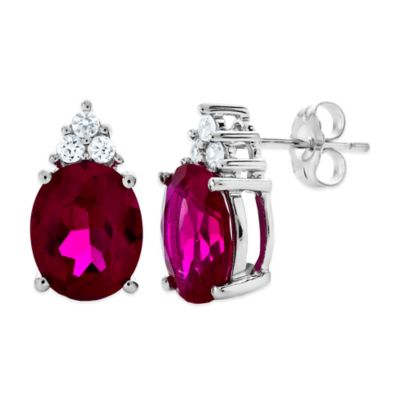 Sterling Silver Created Oval Ruby and Created White Sapphire Trio Stud Earrings