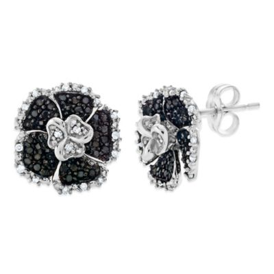Sterling Silver .50 cttw White and Enhanced Black Diamond Flower Stud Earrings
