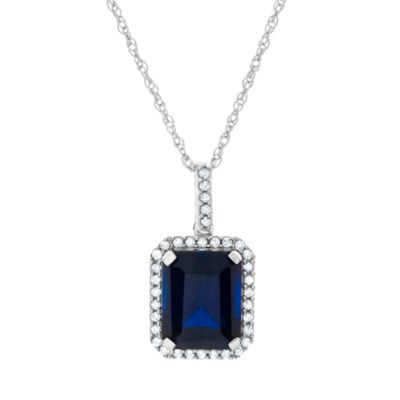 Sterling Silver Created Blue and White Sapphire 18-Inch Chain Emerald-Cut Pendant Necklace