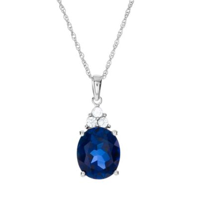Sterling Silver Created Blue and White Sapphire Trio 18-Inch Chain Oval Pendant Necklace