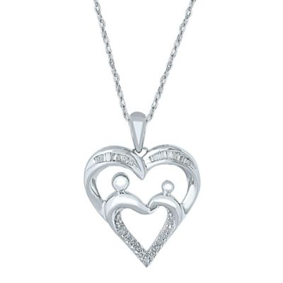 10K White Gold .15 cttw Diamond 18-Inch Chain Mom Heart Pendant Necklace