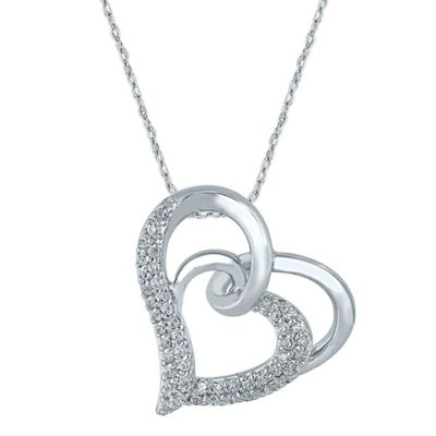 10K White Gold .33 cttw Diamond 18-Inch Chain Looped Double-Heart Pendant Necklace