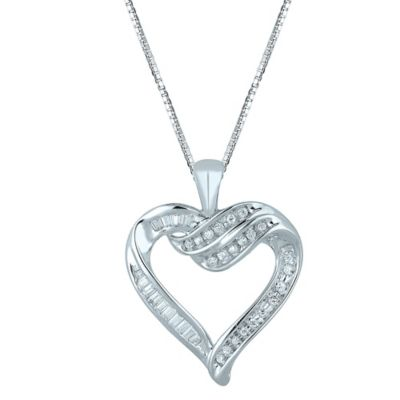 Sterling Silver .30 cttw Diamond 18-Inch Chain Ribbon Heart Pendant Necklace