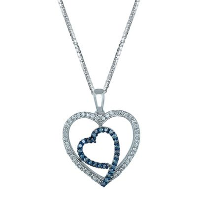 Sterling Silver .52 cttw White and Blue Diamond 18-Inch Chain Double-Heart Pendant Necklace
