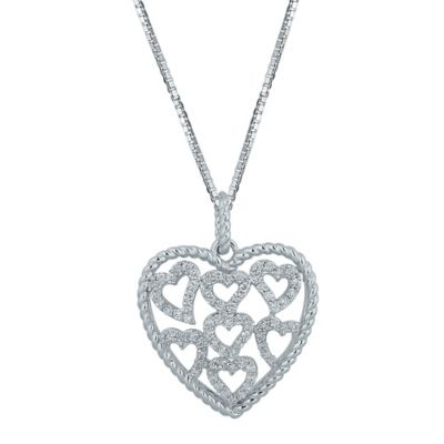 Sterling Silver .51 cttw Diamond 18-Inch Chain Multiple Hearts Pendant Necklace