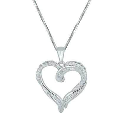 Sterling Silver .25 cttw Diamond 18-Inch Chain Textured Open Heart Pendant Necklace