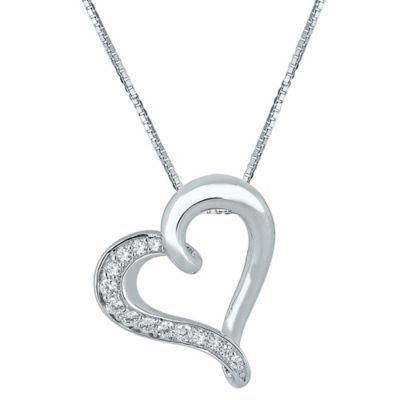Sterling Silver .24 cttw Diamond 18-Inch Chain Tilted Half-Lined Heart Pendant Necklace