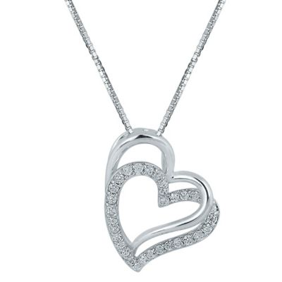 Sterling Silver .25 cttw Diamond 18-Inch Chain Tilted Double-Heart Pendant Necklace