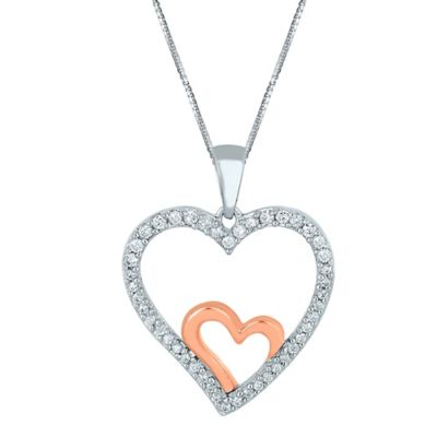 Sterling Silver and 10K Rose Gold .26 cttw Diamond 18-Inch Chain Double Open Heart Pendant Necklace