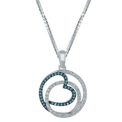 Sterling Silver .33 cttw White and Blue Diamond 18-Inch Chain Swirling Heart Pendant Necklace