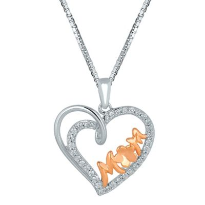 Plated Sterling Silver and 10K Rose Gold .20 cttw Diamond 18-Inch Chain Mom Swirling Heart Pendant