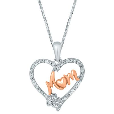 Plated Sterling Silver .20 cttw Diamond 18-Inch Chain Mom Flower Heart Pendant
