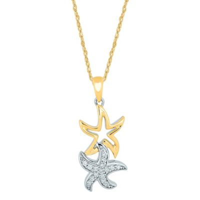 10K White and Yellow Gold .16 cttw Diamond 18-Inch Chain Double-Star Pendant Necklace