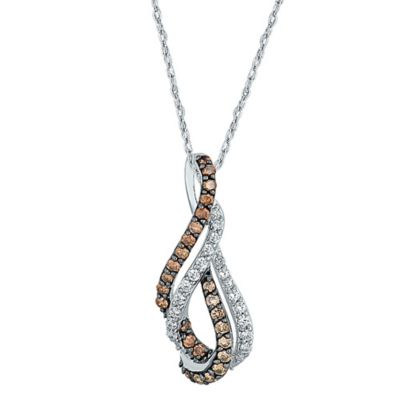 10K White Gold .50 cttw Champagne and White Diamond 18-Inch Chain Looped Pendant Necklace