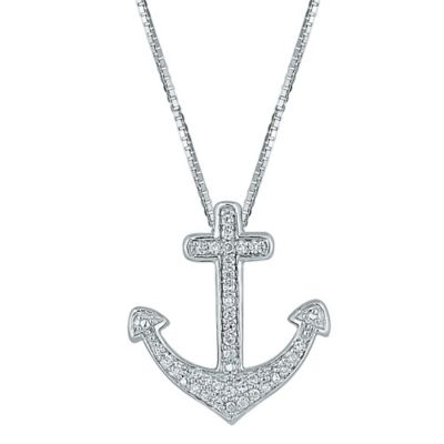 Sterling Silver .24 cttw Diamond 18-Inch Chain Anchor Pendant Necklace