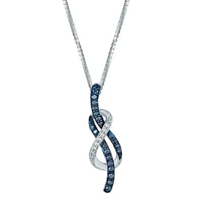 Sterling Silver and 10K White Gold .25 cttw Blue and White Diamond Looped Knot Pendant Necklace