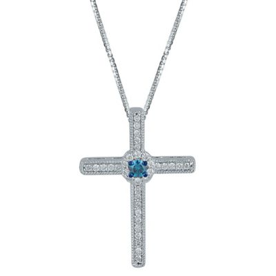Sterling Silver .27 cttw Blue and White Diamond 18-Inch Chain Lined Cross Pendant Necklace