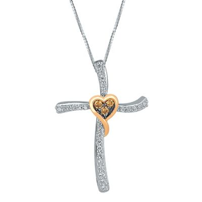 Sterling Silver and 10K Rose Gold .20 cttw Diamond 18-Inch Chain Heart Cross Pendant Necklace