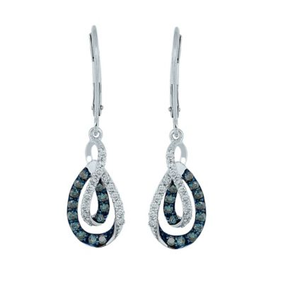 10K White Gold .63 cttw Blue and White Diamond Dangling Loop Earrings