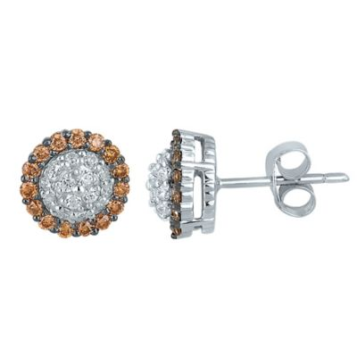 10K White Gold .52 cttw Champagne and White Diamond Framed Stud Earrings