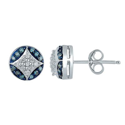 Sterling Silver .33 cttw Blue and White Diamond Framed Star Stud Earrings