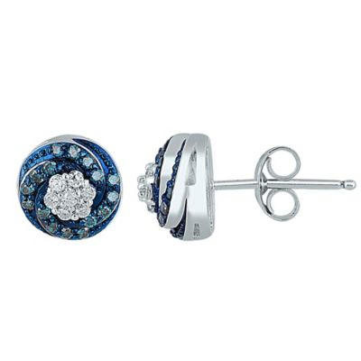 Sterling Silver .33 cttw Blue and White Diamond Swirling Stud Earrings