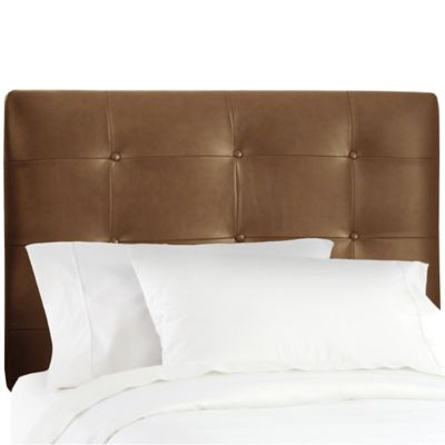 Skyline Furniture Button Tufted Full Headboard in Sonoran Saddle Brown