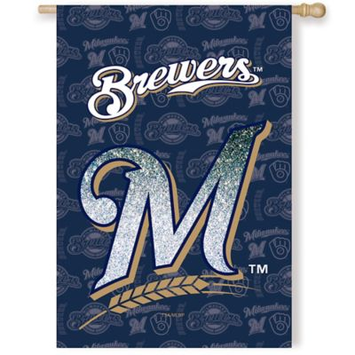 MLB Milwaukee Brewers Double-Sided Vertical Glitter Flag