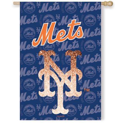 MLB New York Mets Double-Sided Vertical Glitter Flag