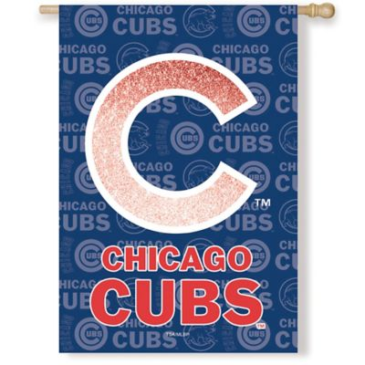 MLB Chicago Cubs Double-Sided Vertical Glitter Flag