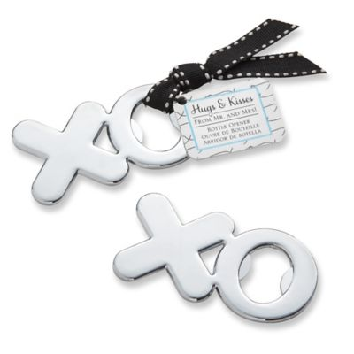 "Kate Aspen® ""Hugs & Kisses From Mr. & Mrs."" XO Chrome Bottle Opener"