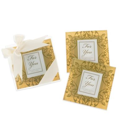 "Kate Aspen® ""Golden Brocade"" Elegant Glass Photo Coasters (Set of 2)"