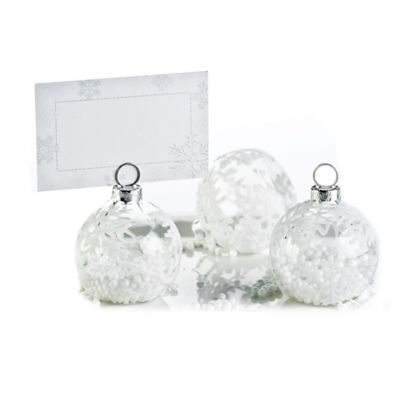 Kate Aspen® Snow Flurry Flocked Glass Ornament Place Card/Photo Holders (Set of 6)