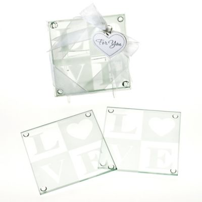 "Kate Aspen® ""Clearly in Love"" Glass Coasters (Set of 2)"