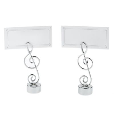 "Kate Aspen® ""Love Songs"" Music Note Place Card/Photo Holder in Silver (Set of 4)"