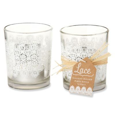 "Kate Aspen® ""Lace"" Glass Tealight Holders (Set of 4)"