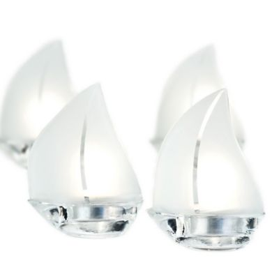 "Kate Aspen® ""Set Sail"" Sailboat Frosted Glass Tealight Holders (Set of 4)"