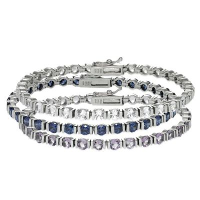 Sterling Silver 10 cttw Prong Set Lab-Created White Sapphire Bar Line Bracelet