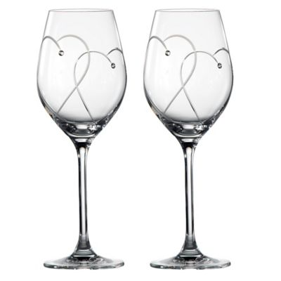 "Royal Doulton Promises ""Two Hearts Entwined"" Wine Glasses (Set of 2)"