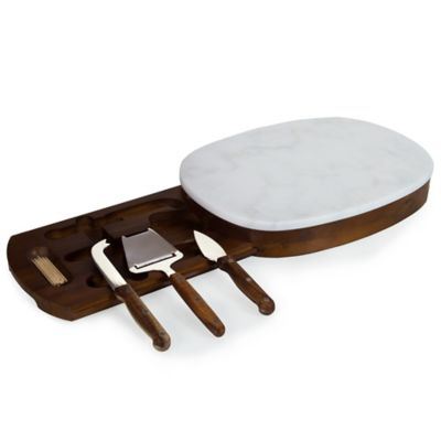 Legacy Heritage Collection by Fabio Viviani Carrara Marble Top Oval Cheese Board with Tools