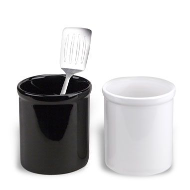 Ceramic Utensil Holder Crock in White