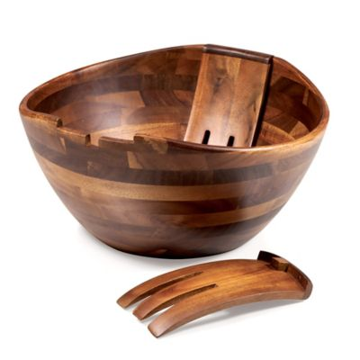 Heritage Collection by Fabio Viviani Mescolare Acacia Salad Bowl with Mixing Claws (3-Piece Set)