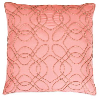 Randi Rope Applique Square Throw Pillow in Coral