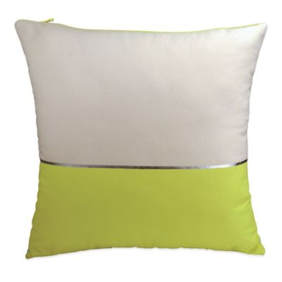 DKNY Fraction Square Throw Pillow in Natural/Citron
