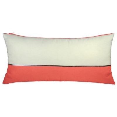 DKNY Colorblock Oblong Throw Pillow in Neon Pink/Natural