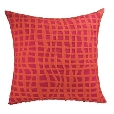 DKNY Colorblock Square Throw Pillow in Raspberry
