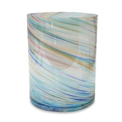 Veratex Blue Swirl Glass Wastebasket
