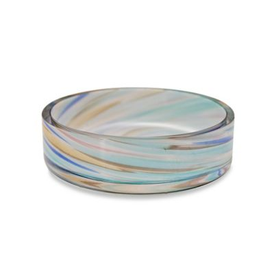 Veratex Blue Swirl Glass Soap Dish