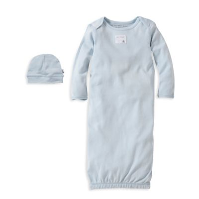 Burt's Bees Baby® Size 0-3M Organic Cotton Gown and Cap Set in Blue
