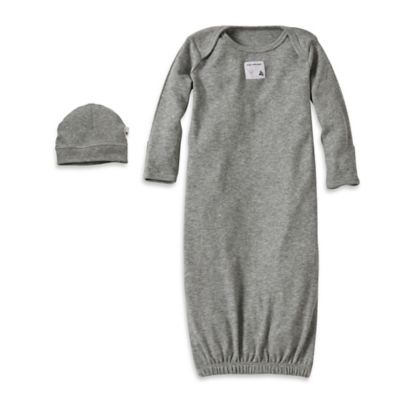 Burt's Bees Baby® Size 0-3M Organic Cotton Gown and Cap Set in Grey